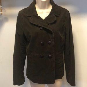 Ann Taylor brown corduroy pea coat jacket